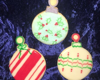 Christmas Ornament Decorated Cookies Holly Candy Cane Stripes Feathered Stripes Decorated Cookies