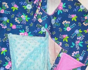 Baby Girl Gift Set/ Minky Baby Blanket/ Burp Cloth/ Baby Bib/ Floral Bib/ Baby Shower Gift for Girl/ Floral Baby Gift/