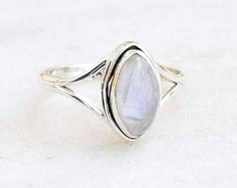 Moonstone Ring, Silver Moonstone Ring, 925 Sterling Silver, Handmade Ring, Rainbow Moonstone Ring, Gypsy Ring