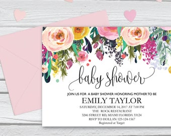 Floral Baby Shower Invitation, It's a Girl Shower Invite, Bridal Shower Card, Floral Baby Shower, Boho Girl Baby Invite, Instant Download B8
