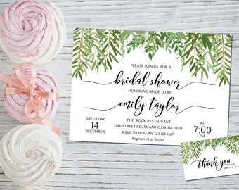 Bridal Shower Invitation, Greenery Wedding Printable , Greenery Bridal,Printable Bridal Shower Invitation, Greenery, Instant Download, ABR05