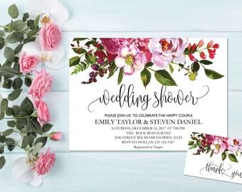 Printable wedding shower invitation, Wedding Shower Invitation, Couples Shower Invite, flower wedding shower invitation instant download, B1