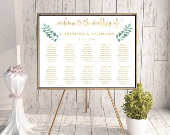 Greenery Wedding Seating Chart, Wedding Seating Chart, Wedding Table seating, wedding seating chart alphabet, seating chart template, SC165