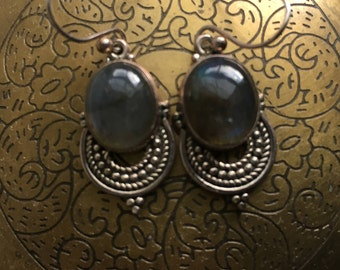 Vintage Labradorite Sterling Silver Earrings