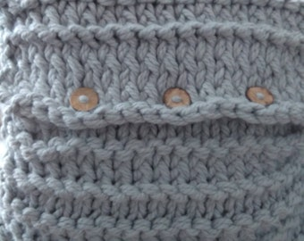 Chunky hand-knitted grey woollen cushions