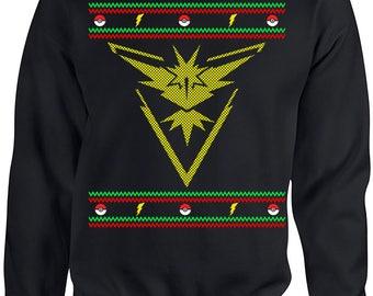 Ugly Christmas Sweater, Ugly Christmas Party, Pokemon Go, Pokemon Team Instinct, Ugly Sweater Party, Christmas Sweatshirt