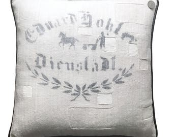 Antique German Grain Sack Pillow  -  18 x 18""