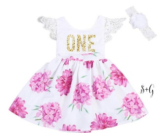 1st birthday girl outfit, first birthday dress, pink and gold outfit, gold glitter ONE, 1st birthday tutu, smash the cake, floral dress