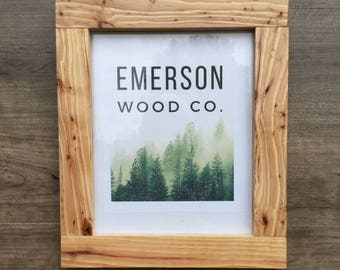 Arts & Crafts Mission Inspired Hickory Photo Frame / Wood Picture Frame /  5X7, 8X10, 8.5X11, 11X14 / Unfinished or Stained