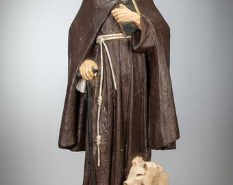 """25"""" Large RARE Antique Saint Anthony The Great Plaster Statue The Abbot of Egypt with Pig"""