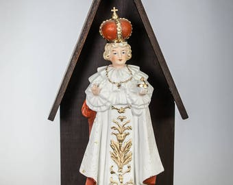 Infant Jesus of Prague Antique Bisque Porcelain Statue in Wooden Shrine Vintage Santo Nino