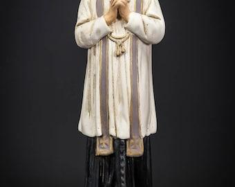 """RARE Saint John Vianney Antique Plaster Statue St Patron Parish Priests 13"""""""