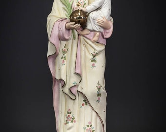"St Joseph with Baby Jesus Statue | Saint with Child Christ Figure | Antique Bisque Porcelain | 17"" Large"