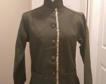 Vintage Military Sequined Jacket with Hat