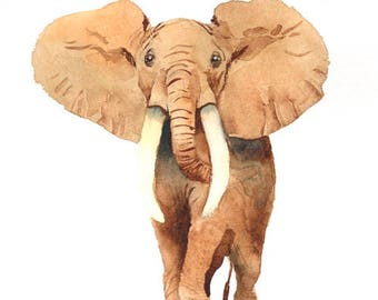 Elephant art print , nursery savannah animal , watercolor elephant painting , savannah animal art print , digital print download