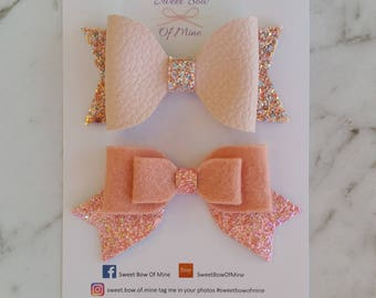 Hair Clip SET | Pink medium size bows made with leather, glitter and wool felt | Girls Hairclips, Hair Bows, Glitter Bows, Felt Bow