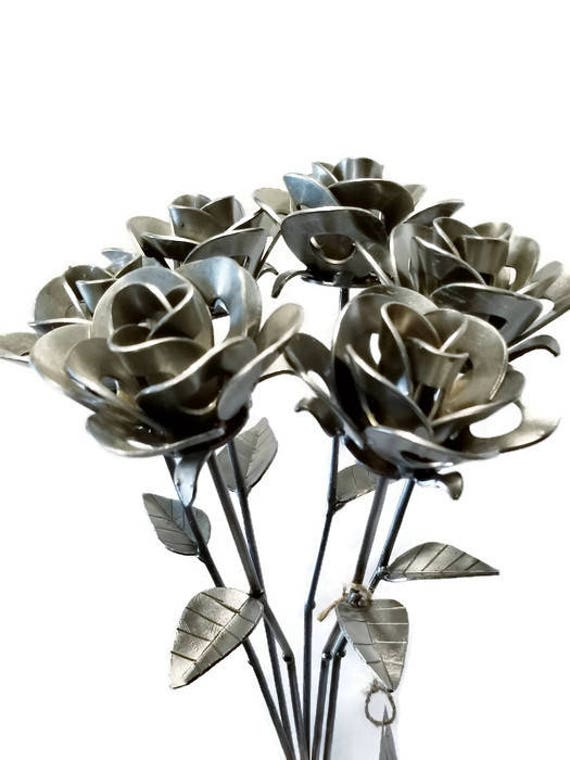 Half Dozen (6) Metal Steel Forever Roses created by Welding Scrap Metal Steampunk Style making Unique Gifts and Modern Rustic Home Decor!