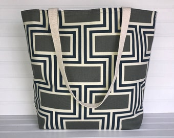 Handmade Everyday Tote | Market Bag |  Gray-Navy-Ivory Geometric Tote