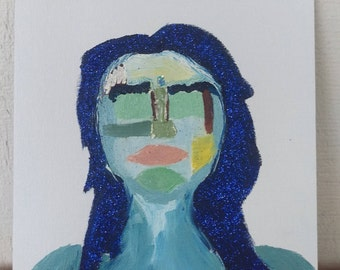 Abstract Blue Glitter Haired Girl