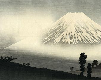 "Japanese Art Print ""Mt. Fuji in Mist"" by Takahashi Shotei, woodblock print reproduction, asian art, cultural art, mountain, woods, travel"