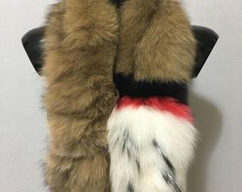 Beautiful Brown Black Red White Fox Fur Collar & Scarf