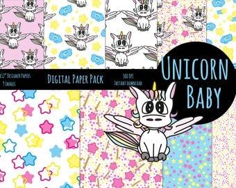 cute digital Paper Unicorn baby • baby shower • birthday party • scrapbooking •  printable • unicorn • love • sweet • craft paper • baby