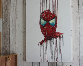 Spiderman Painting - Original one of a kind hand painted on canvas