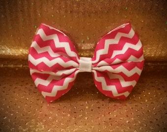 Hot Pink Chevron Hair Bow; Girls Hair Bow; Hair Bows With Clips; Girls Bows; Hair Clips; Hair Bows; Toddler Bows