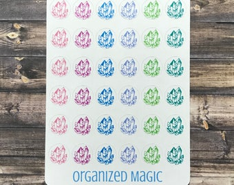 Crystal planner stickers, crystal stickers, energy planner stickers, clarity planner stickers