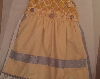 Yellow dress with attached apron