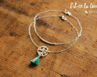 """SILVER 925 - Duo Bracelets """"Full moon / Pompom / Silver beads""""-green and silver"""