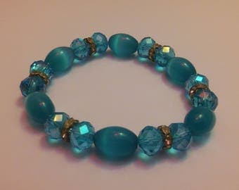 Shiny Blue Bead Bracelet Beads