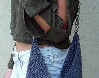 Free Shipping, Grey Crochet Bag, Crochet Crossbody Bag, Grey Crochet Shoulder Bag, Crochet Handbag, Macrame Bag, Summer Bag