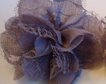 Dark purple - gray ruffle with lace netting barrette / Ruffle lace hair accent