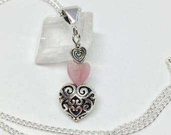Valentines heart rhodonite necklace, heart pendant necklace, silver heart rhodonite jewelry, pink stone jewelry, pink heart necklace, love