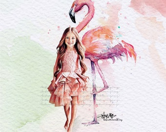 Flamingo Fashion Print (MischkaAoki Fashion Illustration) (AnnaPavaga Fashion Illustration)