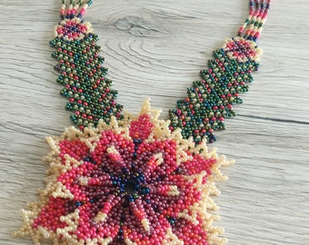 Handmade Huichol flower necklace Seed bead necklace Statement necklace Colorful necklace Everyday necklace Beaded jewelry Christmas present