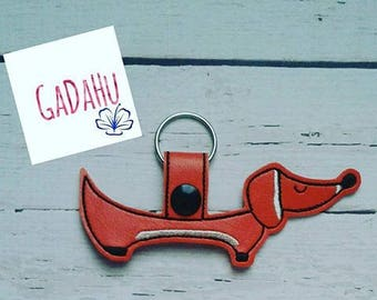 Mini Dachshund Dog Key Fob Snap Tab Embroidery Design 4X4 size