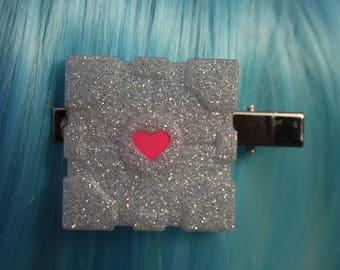 Glitter Portal Companion Cube Hair Clip