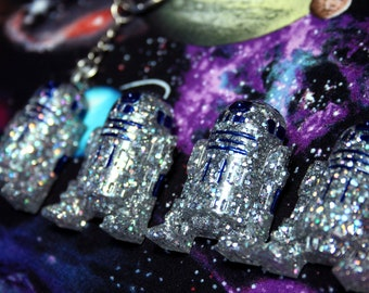R2 Holo EXTRA GLITTERY Droid Resin Pin Brooch OR Key Chain