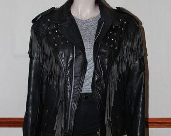 Vintage Fringed and Studded Real Leather Biker Jacket