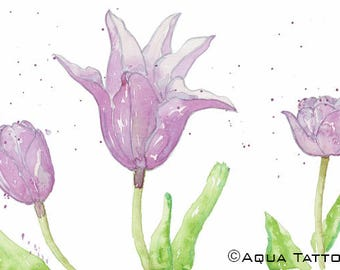 Digital Watercolor Print of Tulips - Spring Wall Decor - Flowers Decoration - Delicate Frames - Purple Image