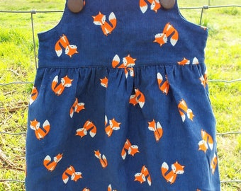 Girl's Corduroy Winter Pinafore Dress, Fox, Bear and Flower Prints