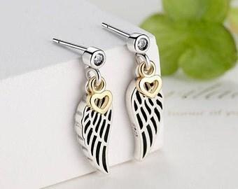 100% 925 Sterling Silver Love & Guidance Feather Stud Earrings For Women