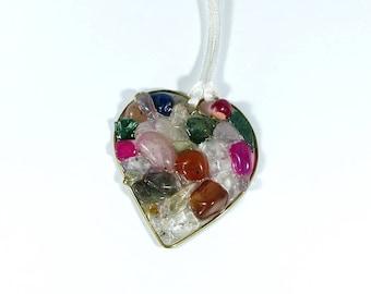 Fuchsia, green, brown and crystal heart pendant made of bronze and gemstones - quartz, green jasper, cornelian and agate