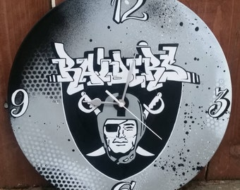 Custom graffiti style Oakland Raiders wall clock