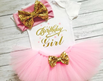 Birthday Girl 1st Birthday Outfit, Pink And Gold First Birthday Girl Outfit, First Birthday Shirt, One Year Old Girl, First Birthday