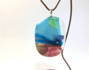 Fused Glass Ornament (at the beach)