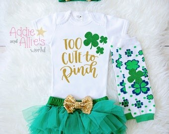 St. Patricks Day Outfit Baby Girl, Too Cute To Pinch Shirt, My First St. Patricks Day Baby Girl Outfit, Saint Patricks Bodysuit, ST1