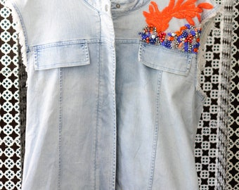 Handmade oversize Sleeveless denim jacket Swarovski crystal embellished